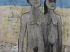 o sei pecora p sei lupo 2015_pittura, carbone su tela cm 150x200